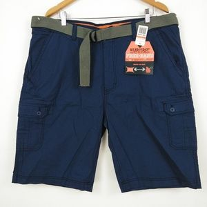 NWT M SOCIETY Mens Casual Classic Belted Grey Cargo Shorts